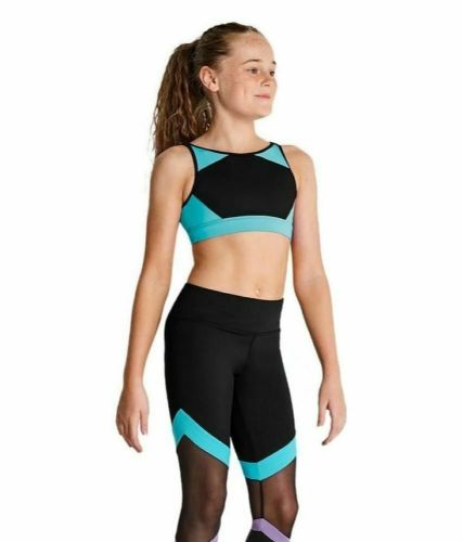 Kaia By Bloch Girls Contrast Panel High Neck Crop Top Dance Gym Acro Turquoise